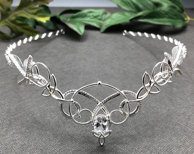 Celtic Woodland Bridal Tiara in Sterling Silver, Art Nouveau Artisan Tiaras, Bohemian Bridal Circlets, Alternative Weddings
