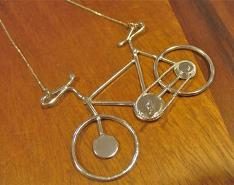 Handmade Sterling Silver Bike Pendant Necklace, OOAK Statement Road Cycling Jewelry, Bicycle Jewelry