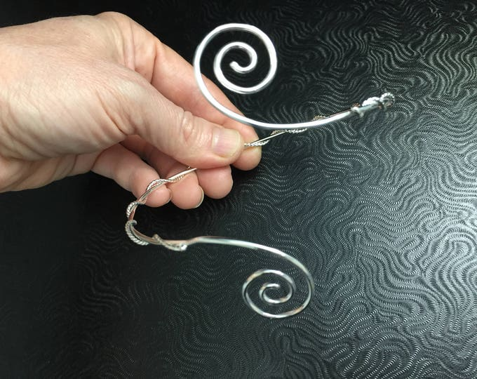Sterling Silver Spiral Upper Arm Scrolling Cuff, Arm Torc,  Celtic Arm Band, Arm Torque, Upper Arm Band, Scrolling Sterling Silver Jewelry