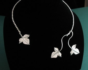 Woodland Leaves Neck Torc in Sterling Silver, Handmade, OOAK Neck Torc, Woodland Theme Necklace