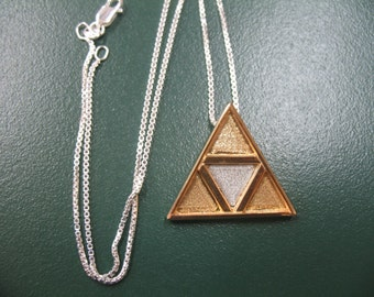 Legend of Zelda Necklace, Triangle Pendant Necklace, TriForce Pendant, Sterling Silver, 24K GoldPlate, Handmade 925, 18 Inch Chain Sterling