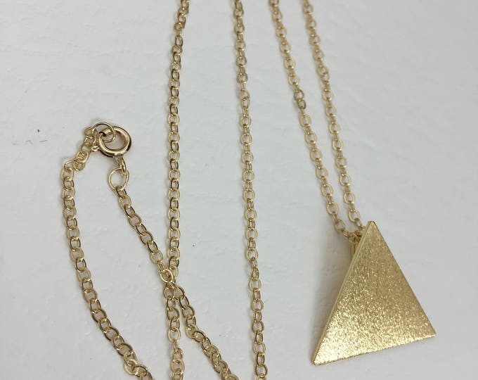 Stevie Nicks Triangle Pyramid Necklace,  Pyramid Pendant, Sterling Silver with 24K gold Plating, 16 inch gold-filled curb chain