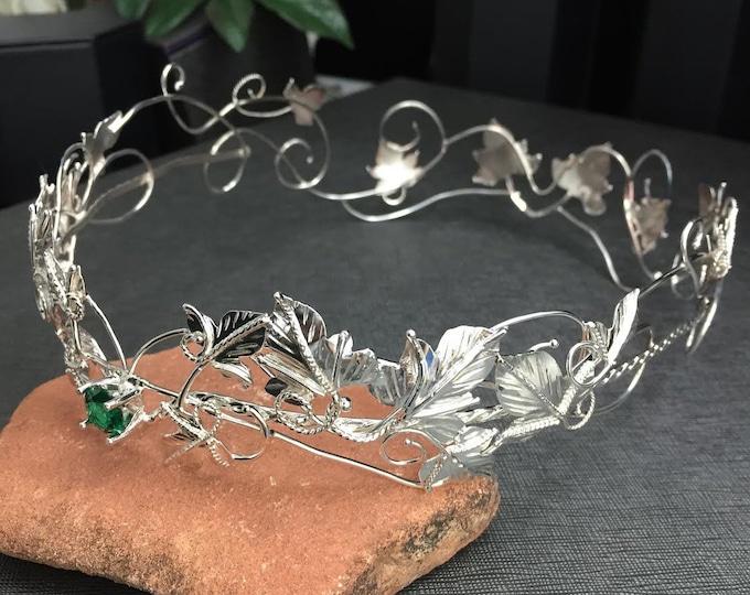 Woodland Wedding Crowns in Sterling Silver,  Artisan Bridal Crowns, Wedding Elvish Leaf Crown, Handmade, Sterling Silver