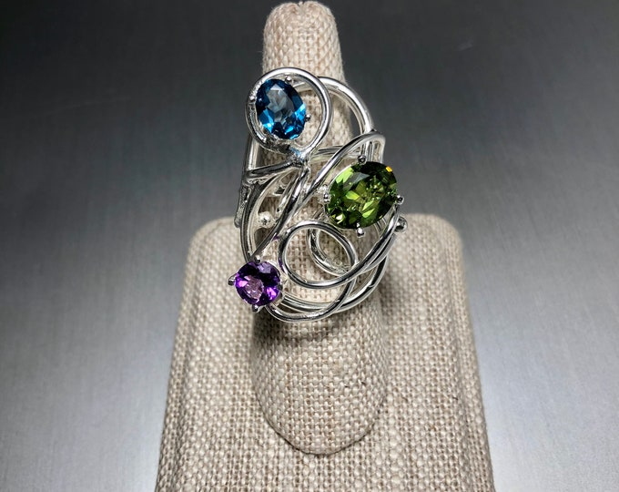 Bohemian Sterling Silver Artisan Amethyst Peridot Ring, Statement Rings Abstract Boho Chic Rings, Gifts For Her