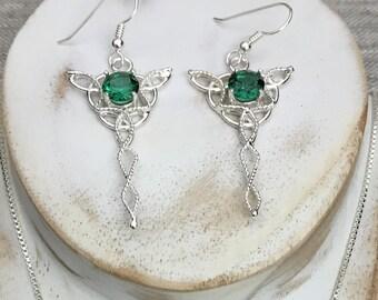 Celtic Knot Dangle Gemstone Earrings In Sterling Silver, Celtic Drop Earrings, Dangle Drop Artisan Earrings, Celtic Wedding, Celtic Jewelry