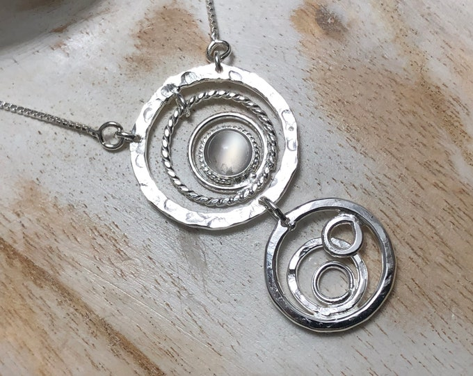 Bohemian Eternity Circle Gemstone Necklace in Sterling Silver, Statement Artisan Necklaces, Gifts for Her, Unique Jewelry Ideas