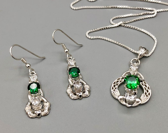 Irish Claddagh Emerald Necklace and Earring Set in Sterling Silver, Artisan Celtic Jewelry Set, Gifts For Her, White Topaz and Emeralds