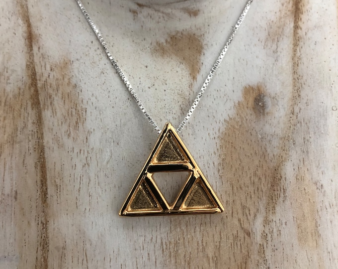 TriForce Necklace Pendant, Cosplay TriForce LoZ Necklace, Sterling Silver Hyrule Triangle Necklace, 24K Gold Plate Overlay, Legend of Zelda