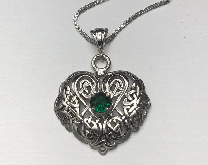 Celtic Irish Heart Emerald Amethyst Peridot Sapphire Necklace in Sterling Silver, Irish Jewelry, Gifts for Her, Anniversary