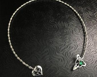 Celtic Neck Ring in Sterling Silver, Irish Neck Torque, Wedding Neck Torc,  OOAK Neck Torc, Handmade Neck Ring, Celtic Wedding Accessory