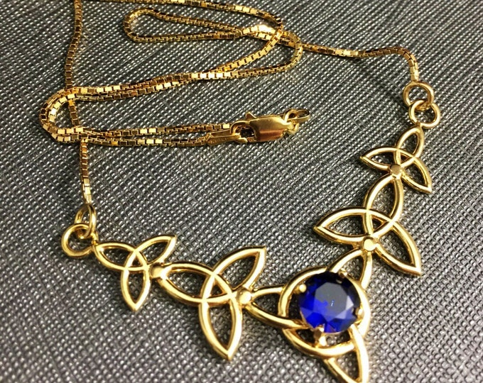 Celtic Knot Sapphire Necklace with 16 Inch Box Chain in Sterling Silver, Celtic Irish Necklace with 8mm Lab Sapphire, 24KG Plated