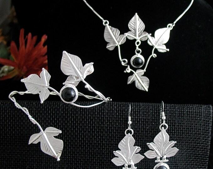 Woodland Wedding Bridal Set, Leaf Earrings, Leaves Bracelet Wrap, Leaf Necklace in Sterling Silver with Gemstone Choice, Nature Wedding