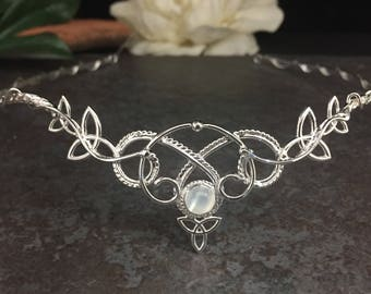 Celtic Irish Bridal Circlet, Bohemian Celtic Wedding, Woodland Bridal Tiara, Sterling Silver wedding circlet, Celtic Wedding, Irish Wedding