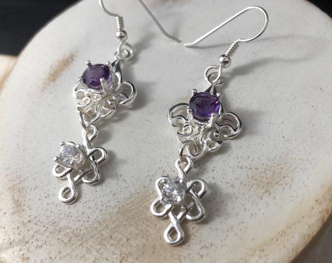 Irish Celtic Drop Gemstone Earrings, Celtic Drop Style Earrings, Fancy Gemstone Sterling Silver Earrings, Celtic Wedding, Celtic Jewelry