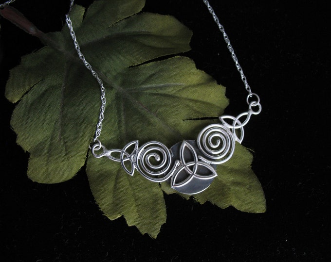 Celtic Victorian Spiral Necklace, Celtic Trinity Knot Wire Work Art Nouveau Pendant, Sterling Silver with 16 inch Box Chain