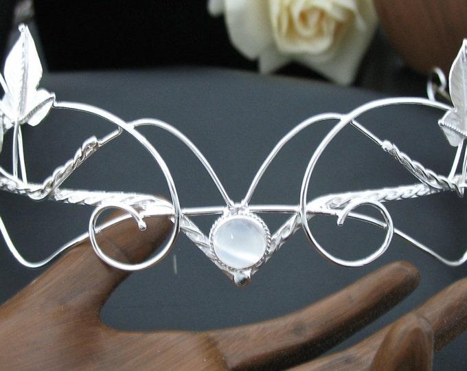 Fae Woodland Bespoke Wedding Tiara in Sterling Silver, Artisan Bridal Tiaras, Sterling Silver Wedding Circlet, Handmade,  Gemstone Cabochon