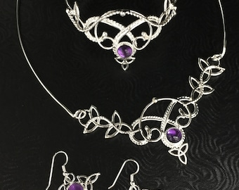 Irish Celtic Knot Bridal Jewelry Set, Victorian Statement Choker, Bracelet Cuff and Earrings, Alternative Bridal Fashion