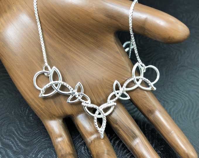 Sterling Silver Celtic Triquettra  Necklace with a 16 Inch sterling Box Chain, Handmade Sterling Celtic Necklaces, Celtic Trinity Knots