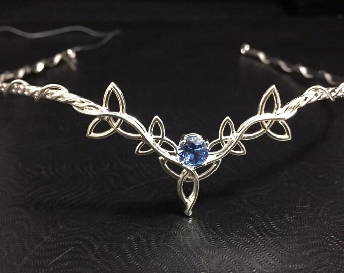 Celtic Tiara, Irish Weddings, Trinity Knot Wedding Circlets, Aquamarine Sterling Silver Handmade Wedding Circlet