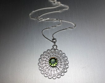 Filigree Emerald Statement Necklace, Gifts For Her, Aztec Designs, Symbolic Jewelry Designs