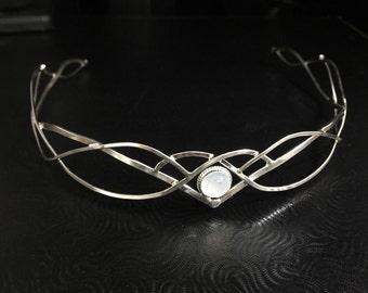 Elvish Wedding Tiara, Moonstone Bridal Circlet, Sterling Silver Handmade Circlet with Gemstone, Faery Headpieces, Hair Jewelry 925