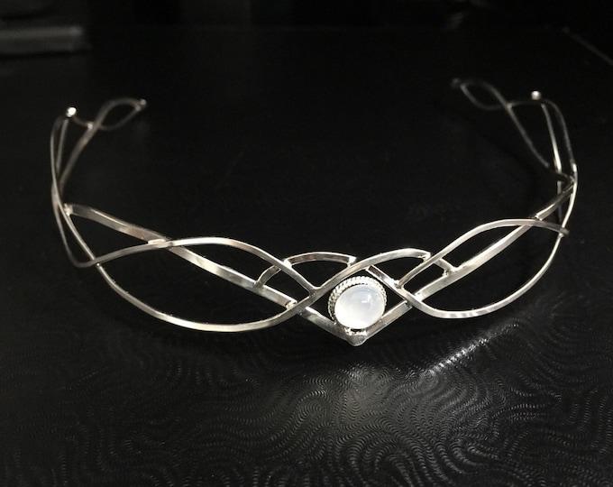 Bohemian Wedding  Gemstone Tiara in Sterling Silver, Circlet, Sterlin Silver Handmade Circlet with Gemstone, Faery Forehead Jewelry