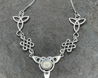 Celtic Knot Moonstone Necklace, Irish Necklace, Gifts For Her, Anniversary, Irish Weddings, Renaissance Necklaces
