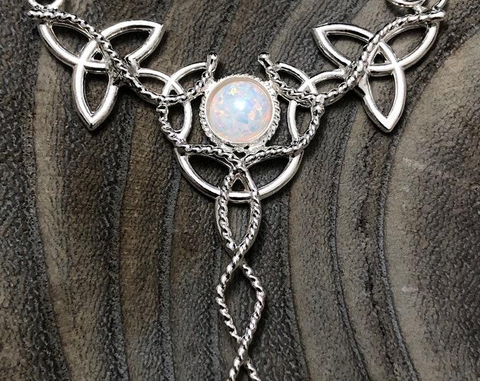 Celtic Knot Gemstone Necklace, Irish Trinity Knot Necklace with Moonstone, Bohemian Celtic Necklaces, Wedding Necklace, Statement Necklace