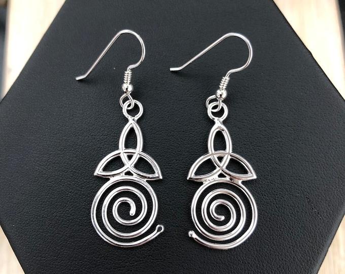 Celtic Spiral Trinity Knot Earrings with Dangle Hooks - Sterling Silver 925Cute Earr