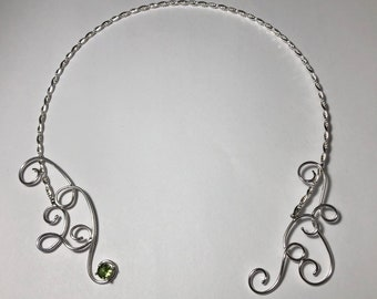 Victorian Bohemian Sterling Silver Handmade Neck Torc, Celtic Neck Piece, Neck Torc Wire Work with Emerald,  Renaissance Chokers with Gem