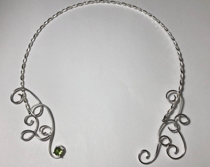 Bohemian Sterling Silver Emerald Neck Torc, Celtic Neck Piece, Neck Torc Wire Work with Emerald,  Renaissance Chokers, Gifts For Her