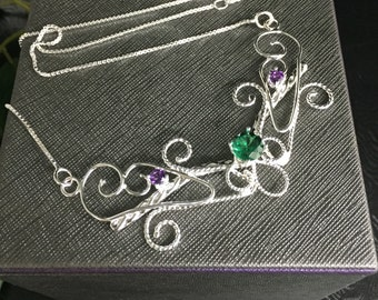 Renaissance Emerald  Necklace in Sterling Silver, Art Nouveau Handmade Necklace, Sterling Silver Wedding necklace, Bridal Necklace