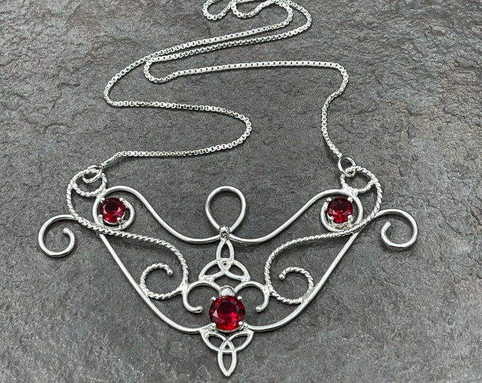Celtic Victorian Bohemian Garnet Necklace in Sterling Silver, Art Nouveau Necklaces, Statement Pieces, Gifts For Her, Anniversary