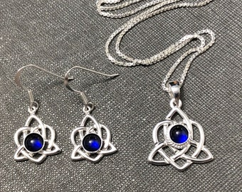 Celtic Knot Gemstone Earrings and Necklace Set Sterling Silver, Artisan Irish Earrings and Necklace Combo with Gemstone Choice, 925