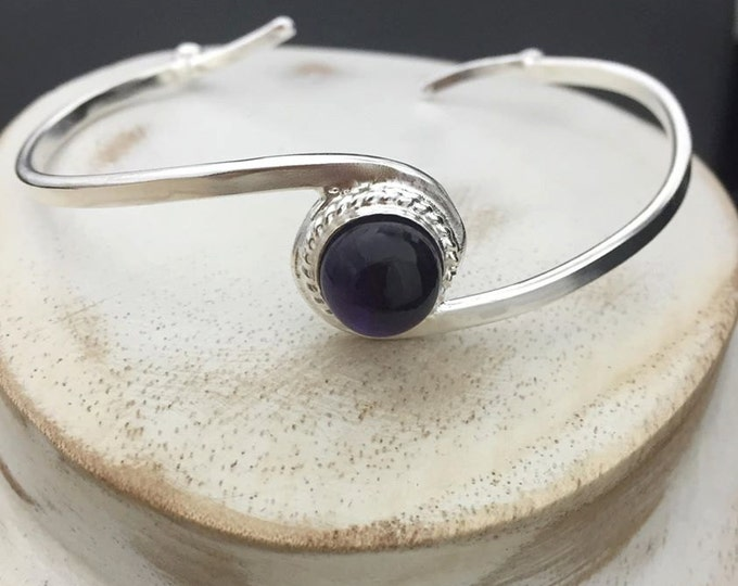 Sterling Silver Swirl Bracelet Cuff With Gemstone Cabochon, Simple Cuff, Handmade Cuff Bangle, Artisan, Simple Bracelet Cuff, Bracelets