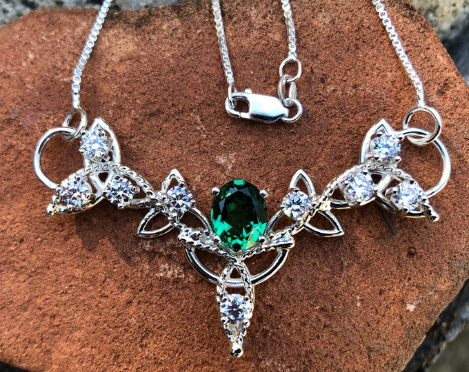 Emerald and CZ Celtic Trinity Knot Pendant Necklace with 16 Inch Sterling Box Chain, Handmade, Sterling Silver, Lab Created Emerald