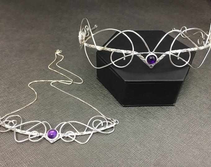 Bridal Bespoke Bohemian Jewelry Set, Sterling Silver Bridal Wedding Circlet, Bespoke Elvish Necklace, Renaissance Bride