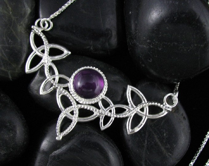 Amethyst Celtic Pendant Necklace with 16 Inch Box Chain .925, Handmade Celtic Necklace, Celtic Wedding Accessories, Celtic OOAK Jewelry