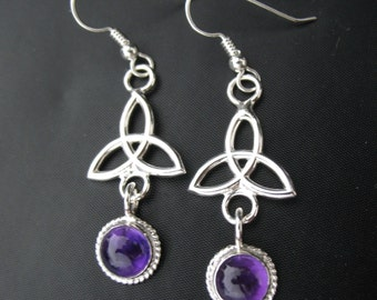 Celtic Amethyst Drop Earrings, Irish Charmed Amethyst Earrings, Silver Amethyst Earrings, Silver Gem Earrings, Trinity Knot Dangle Earrings