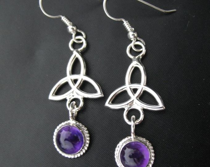 Celtic Amethyst Drop Earrings, Irish Charmed Amethyst Earrings, Silver Amethyst Earrings, Silver Gem Earrings, Trinity Knot Dangle Earrings