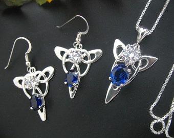 Handmade Earrings and Necklace Set, Irish Jewelry Set, Bridal Jewelry, Wedding Set, Celtic accessories, Handmade, Sterling Silver, OOAK
