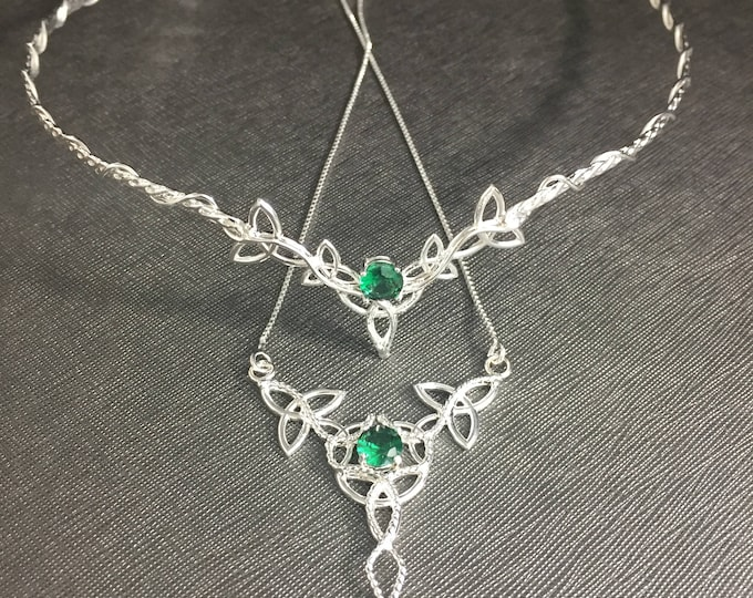 Celtic Knot Bridal Jewelry Set, Emerald Trinity Knot Tiara, Necklace, Earrings with Faceted Gemstones, Handmade Sterling Silver Jewelry