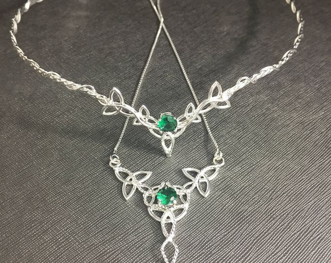 Bridal Jewelry Sets, 4 Piece Wedding Set, Celtic Tiara, Necklace, Earrings with Faceted Gemstones, Handmade Sterling Silver Jewelry