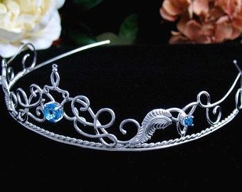 Elvish Sterling Silver Bridal Wedding Tiara Headpiece with Blue Topaz