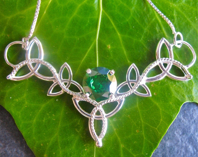Celtic Trinity Knot Triskel Irish Pendant Necklace with 16 Inch Sterling Box Chain, Handmade, Sterling Silver, Lab Created Emerald