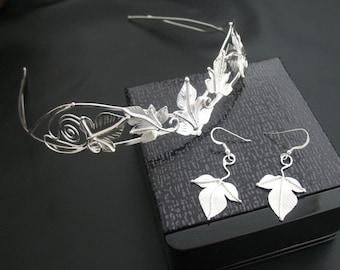 Elvish Woodland Wedding Headpiece Earrings Set, Bridal Wedding Circlet, Artisan Handmade Wedding Set, Sterling Silver, OOAK