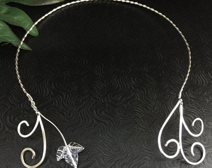 Woodland Leaf Vine Neck Jewelry in Sterling Silver, Fae Elvish Neck Torc, Renaissance Neck Torc, Sterling Silver Handmade