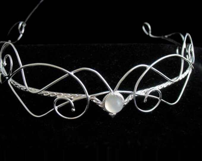 Elvish Wedding Tiara, Bridal Diadems, Renaissance Circlet, Sterling Silver Headpieces, Forehead Jewelry