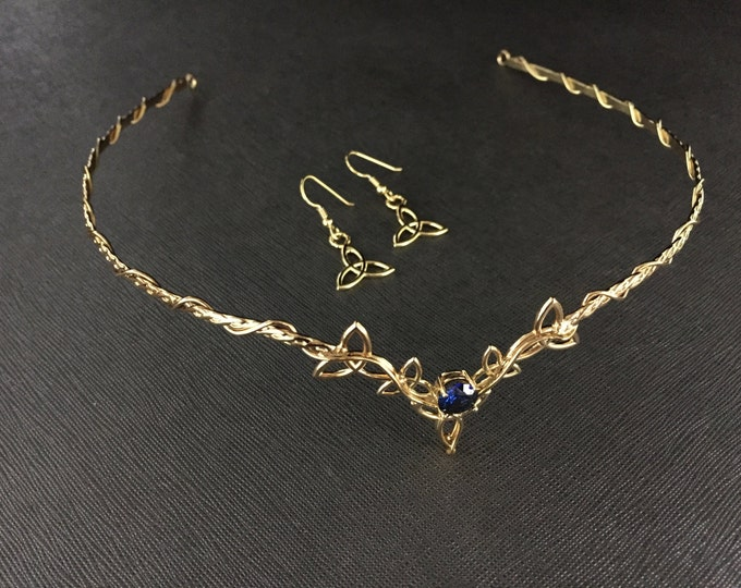 Celtic Bridal Circlet 925 and 24KGOLD-PLATED Wedding Set, Celtic Circlet, Charmed Earrings, 925 Celtic Tiara and Earrings, Celtic Diadems