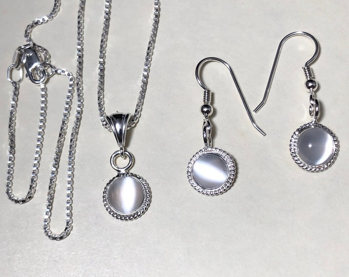 Simple Dainty Necklace and Earrings Set in Sterling Silver, Artisan Petite Jewelry Sets with Gemstone, Handmade OOAK Jewelry